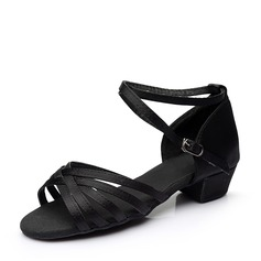 Women's Satin Heels Sandals Latin With Buckle Hollow-out Dance Shoes (053112441)