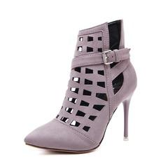Frauen Veloursleder Stöckel Absatz Absatzschuhe Stiefel Stiefelette mit Schnalle Reißverschluss Schuhe