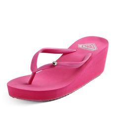 Женщины PVC Вид каблука Сандалии Платформа Танкетка Вьетнамки обувь