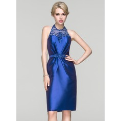 Sheath/Column Halter Knee-Length Satin Cocktail Dress With Ruffle Beading Sequins