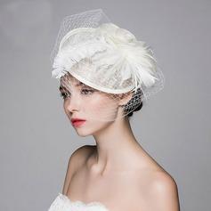 женские Красивая/Элегантные батист с перо/шелковые цветы/Тюль Вуалью