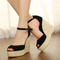 Женщины Замша Вид каблука Сандалии Танкетка Открытый мыс обувь