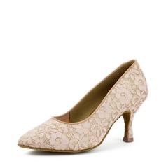 Kvinder Satin Blonder Hæle sandaler Bal Swing Dansesko