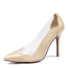 Femmes Similicuir PVC Talon stiletto Escarpins Bout fermé chaussures