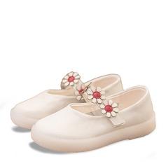 Jentas Lukket Tå Mary Jane Leather flat Heel Flate sko Flower Girl Shoes med Velcro Blomst