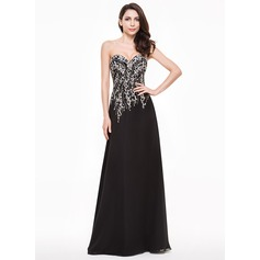 A-Line/Princess Sweetheart Floor-Length Chiffon Evening Dress With Beading Sequins (017065569)