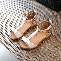 Fille de similicuir talon plat À bout ouvert Sandales avec Bowknot Velcro Ouvertes