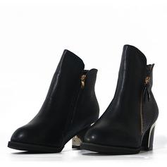 Женщины PU Устойчивый каблук На каблуках Ботинки с Застежка-молния обувь