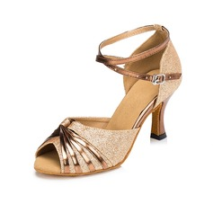 Женщины Мерцающая отделка На каблуках Сандалии Латино с пряжка Обувь для танцев