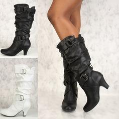 Femmes Similicuir PU Talon stiletto Escarpins Bout fermé Bottes Bottes hautes avec Boucle Plissé chaussures (088182654)
