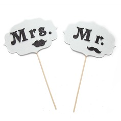 """Mr & Mrs"" Svamp Foto booth rekvisita"