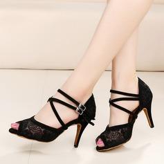 Mulheres Cetim Renda Saltos Latino Sapatos de dança