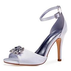 Women's Leatherette Stiletto Heel Peep Toe Pumps With Crystal