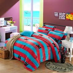 Cartoon Flannel Comforters (4pcs :1 Duvet Cover 1 Flat Sheet 2 Shams)