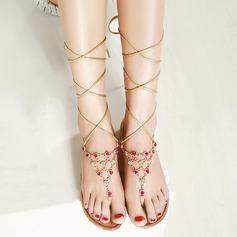 Kvinnor Äkta läder Flat Heel Sandaler Beach Wedding Shoes med Strass
