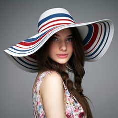 Ladies ' Farverig Rattan Straw Diskette Hat/Stråhat/Kentucky Derby Hatte