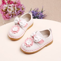 Girl's Leatherette Flat Heel Round Toe Flats With Bowknot Velcro Flower