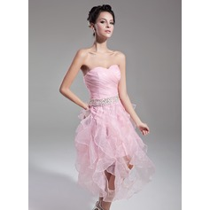 A-Line/Princess Sweetheart Tea-Length Organza Cocktail Dress With Beading Sequins Cascading Ruffles (016015121)
