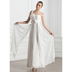 A-Line/Princess Sweetheart One-Shoulder Ankle-Length Chiffon Wedding Dress With Ruffle Flower(s)