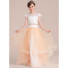 Scoop Neck Floor-Length Tulle Junior Bridesmaid Dress (009130494)