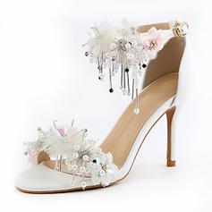 Frauen Kunstleder Stöckel Absatz Peep-Toe Absatzschuhe Sandalen mit Blume Quaste