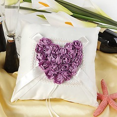 Ring Pillow in Satin With Heart Shaped Rose
