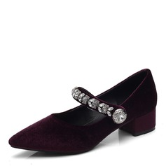 Women's Suede Low Heel Flats With Crystal shoes