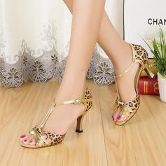 Женщины Атлас кожа На каблуках Сандалии Латино с Т-ремешок Обувь для танцев