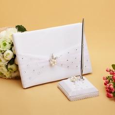 Elegant Faux Pearl/Rhinestones Guestbook & Pen Set