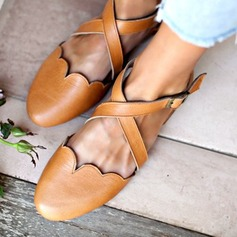 Kvinner PU Lav Hæl Flate sko med Spenne sko