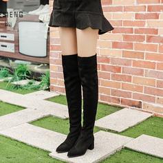 Frauen Veloursleder Stämmiger Absatz Absatzschuhe Stiefel über Knie mit Reißverschluss Schuhe
