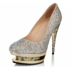 Women's Suede Stiletto Heel Closed Toe Pumps With Rhinestone Jewelry Heel
