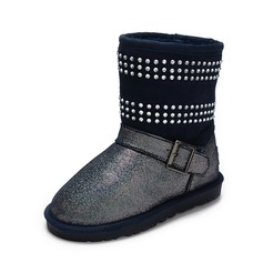 Girl's Suede Flat Heel Closed Toe Mid-Calf Boots Boots With Buckle Rhinestone
