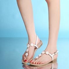 Vrouwen Echt leer Flat Heel Sandalen Beach Wedding Shoes met Gesp Strass Bloem