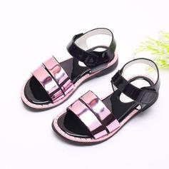 Girl's Leatherette Flat Heel Peep Toe Sandals With Velcro