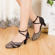 Mulheres Cetim Espumante Glitter Saltos Bombas Salão de Baile com Correia de Calcanhar Sapatos de dança