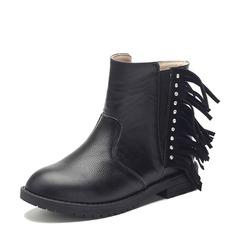 Ragazze Pelle vera Heel piatto Punta chiusa Stivali alla caviglia Stivali con Strass Nappa Cerniera