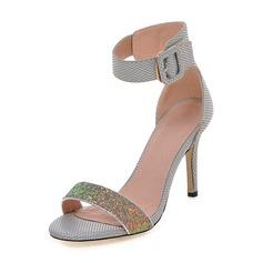 De mujer Brillo Chispeante PU Tacón stilettos Sandalias Salón Encaje con Hebilla zapatos