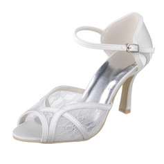 Women's Lace Satin Stiletto Heel Peep Toe Sandals With Buckle