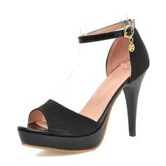 Kvinder Kunstlæder Stiletto Hæl sandaler Pumps Platform Kigge Tå med Spænde sko