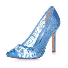 Женщины кружева Атлас Высокий тонкий каблук Закрытый мыс На каблуках с блестками