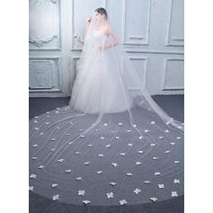 1 couche Bord de coupe Voiles de mariée cathédrale avec Motif appliqué/Fleur en satin
