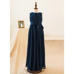 Robe Empire Longueur ras du sol Robes à Fleurs pour Filles - Mousseline de soie Sans manches Col rond avec À ruban(s)