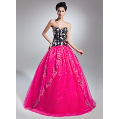Corte de baile Escote corazón Hasta el suelo Organdí Vestido de quinceañera con Bordado Los appliques Encaje Flores Lentejuelas