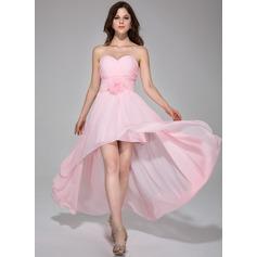 Vestidos princesa/ Formato A Coração Assimétrico De chiffon Vestido de Férias com Pregueado fecho de correr