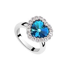 Doce coração Cristal/Platinadas com Strass Senhoras Anéis