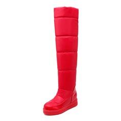 De mujer Ante Tacón plano Plataforma Botas sobre la rodilla zapatos