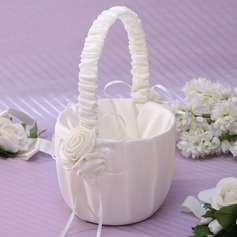 Lovely Flower Basket in Satin With Ribbons