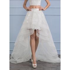 Separates Asymmetrical Organza Wedding Dress With Flower(s)