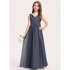 A-Line V-neck Floor-Length Chiffon Junior Bridesmaid Dress With Ruffle (009208588)